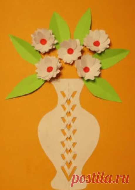 Аппликация цветы в вазе. | ИЗ БУМАГИ СВОИМИ РУКАМИ