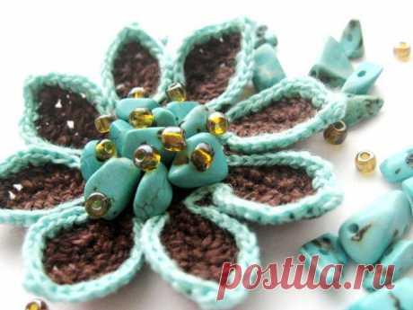 Мастер-класс: вязаный цветок с острыми лепестками - Ярмарка Мастеров - ручная работа, handmade