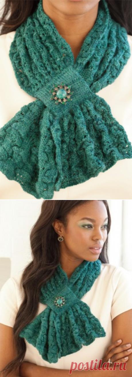 Вязание крючком и спицами - Ажурный шарф с текстурным узором