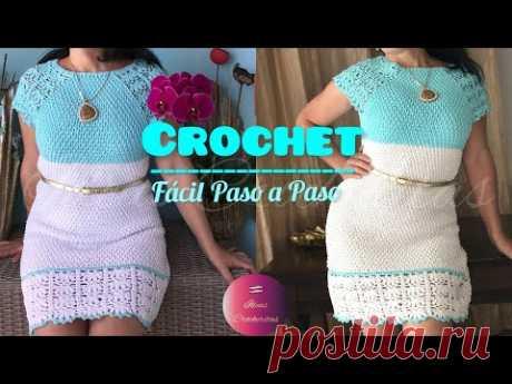 Vestido👗tejido a Crochet o Ganchillo Fácil para tod@s/toda talla/Crochet dress  all size😘 S to 3 X L