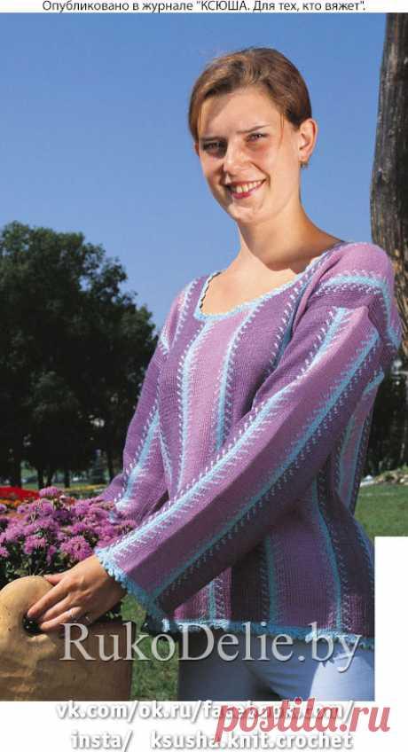 Вязанный спицами пуловер с цветными вертикальными полосами