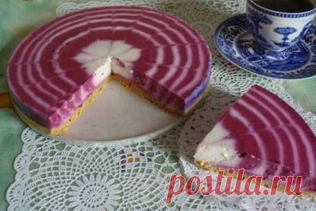 Двухцветный творожный торт без выпекания — Sloosh – кулинарные рецепты