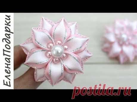 Цветок из ленты / Flor de fita / DIY / Канзаши / Kansasi bow ЕленаПодарки МК