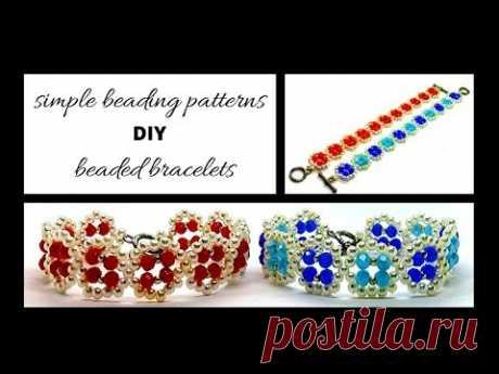 Easy beading pattern for DIY Bracelets. Beginners Beaded Bracelets tutorial