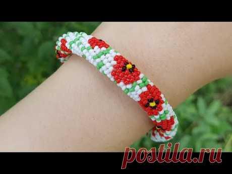 Herringbone beaded bracelet/DIY bracelet/Браслет из бисера/Браслет МАКИ/Бисероплетение/Жгут иглой
