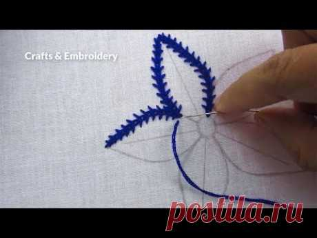 Hand Embroidery, Modern Flower Embroidery, Easy Flower Design - YouTube