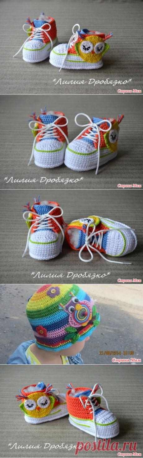 Пинетки Совы крючком, для новорожденных - Вязание - Страна Мам