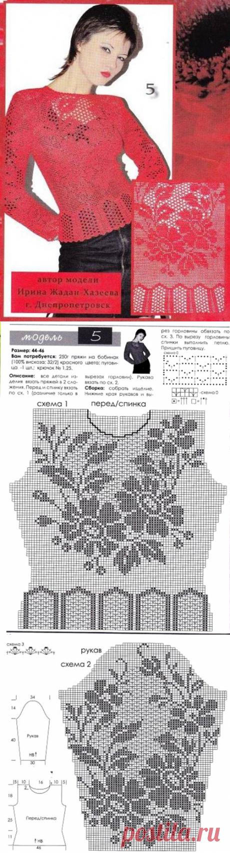 Красивая блузка в филейной технике. - САМОБРАНОЧКА рукодельницам, мастерицам