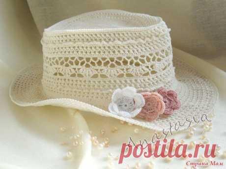 """Ажурная шляпка """"Ванесса""""  #вязание #схема @vrukodeliе"""