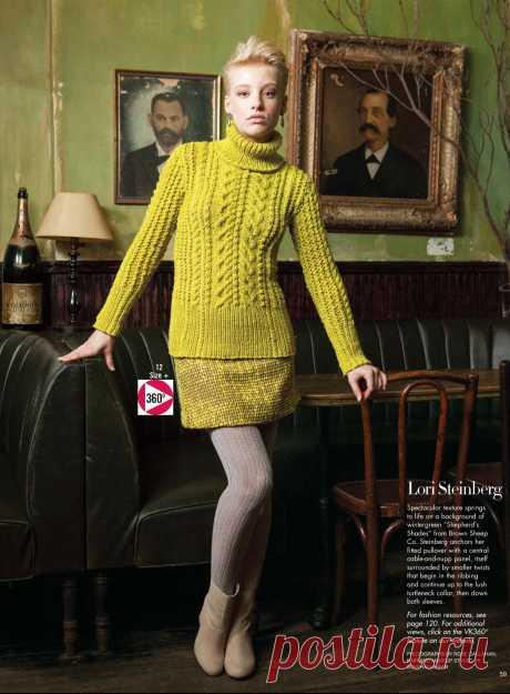 Вязание джемпера – водолазки Texture, модель 12, Vogue winter 2012-2013