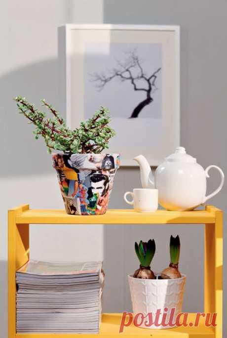 Декор цветочных горшков своими руками | Дизайн интерьера | Декор своими руками