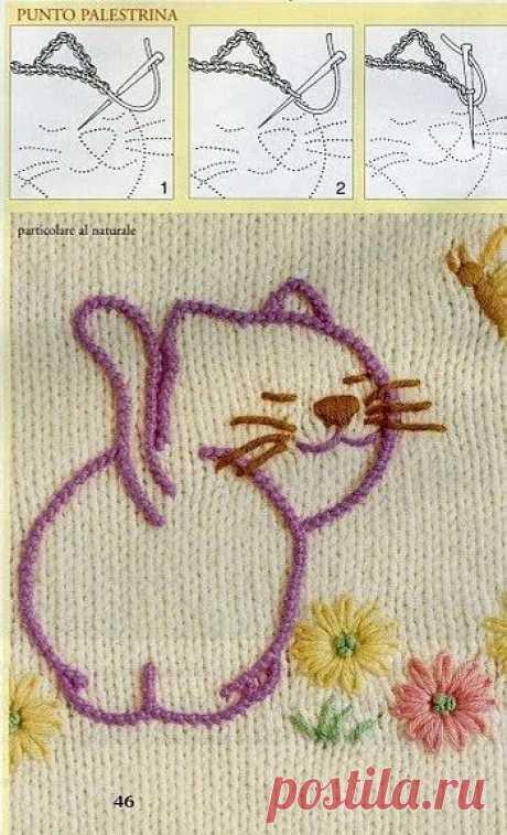 несколько способ вышивки по вязанму полотну. Особенно мне нравятся швы на фотках с котиками