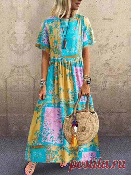 Цветочный принт контрастного цвета с коротким рукавом Винтаж Платье
