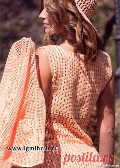 Романтичный стиль. Летний костюм персикового цвета | Женская одежда крючком. Схемы и описание