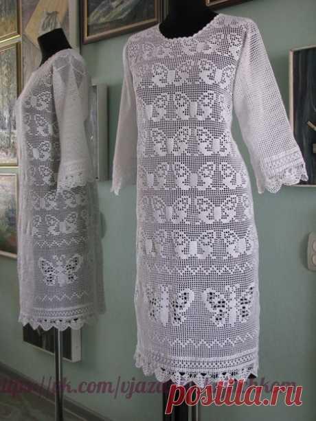Изысканный наряд: белое филейное платье
