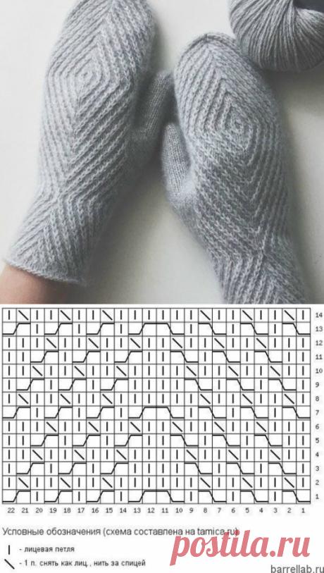 Варежки с геометрическим узором спицами. Схема вязания варежек спицами | Вязание для всей семьи