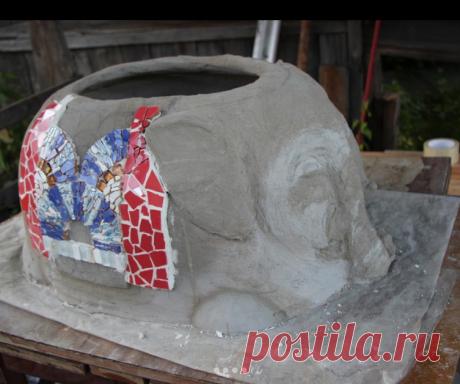 Бетон #слон #вазон #мозаика #авторскаяработа #handmade