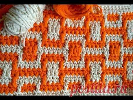 Мозаичное вязание Узор Дабл Квадро Mosaic crochet pattern tuttorial www.evgeniyacrochet.ru