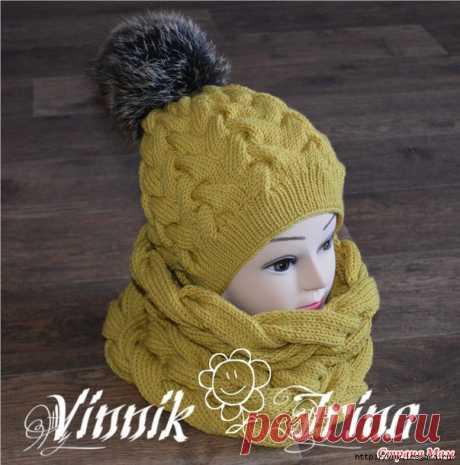 5 теплых зимних комплектов (шапка+снуд) вязанных спицами!