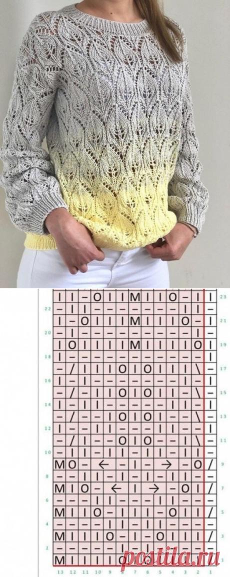 Эффектный узор спицами для пуловера - схема и описание