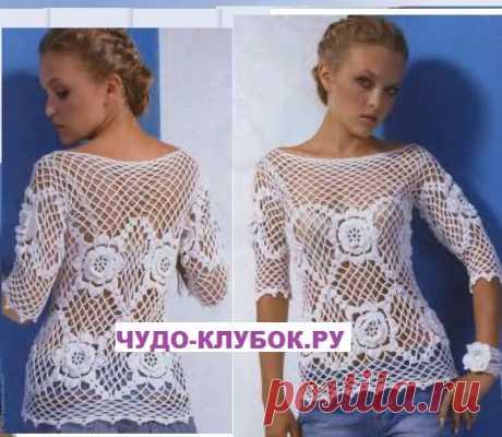 Ажурный пуловер вязаный крючком 21  