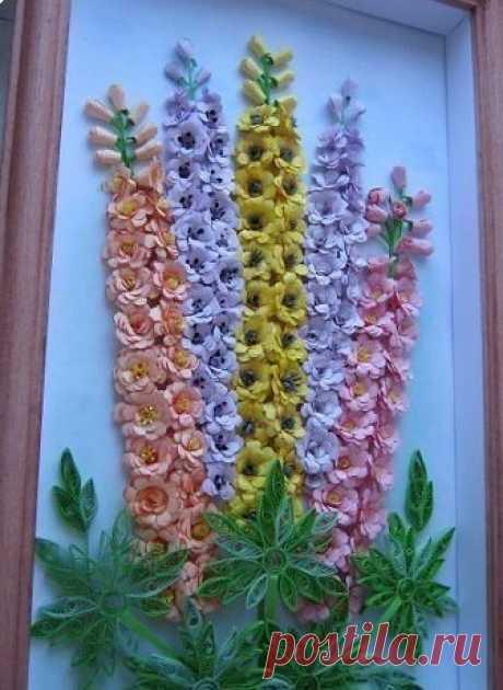 Цветы из бумаги: дельфиниумы