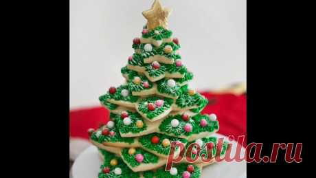 SIMPLE FIR-TREE FROM COOKIES\u000aFestive idea