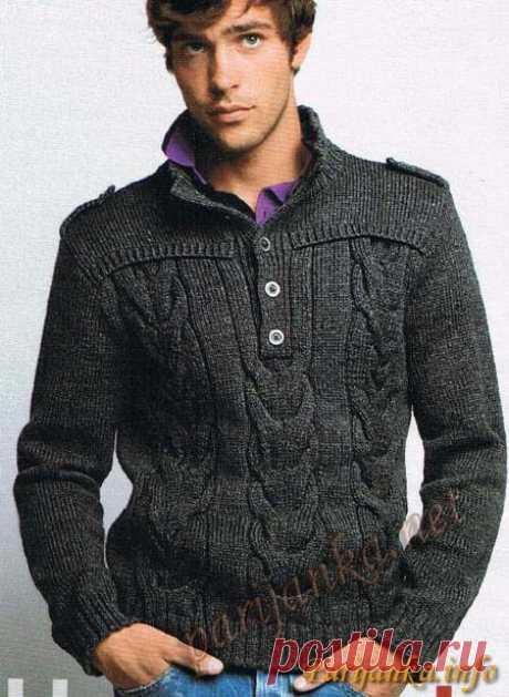 Офицерский пуловер спицами.