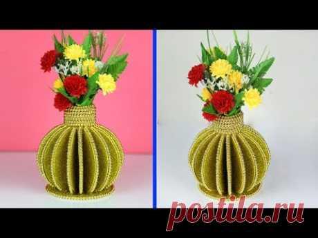How to make flower vase - DIY Vase - DIY Cardboard Flower Vase