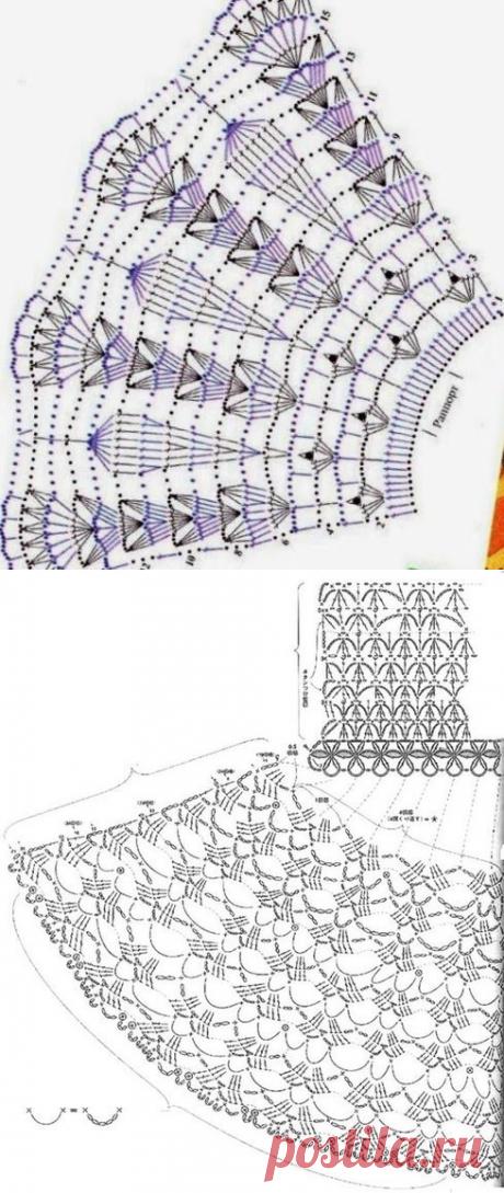 Подборка схем с расширением для вязания юбок