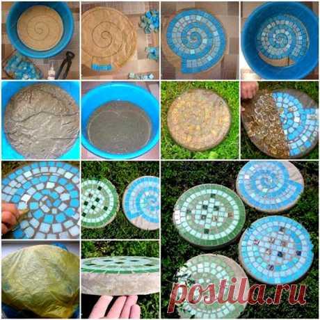 Interesting application of a mosaic in a garden \/ I am a superpuper