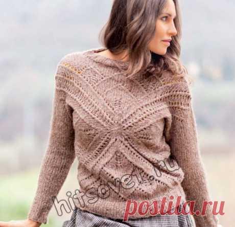 Вязаный пуловер с крестообразным мотивом - Хитсовет Модная модель женского вязаного пуловера с крестообразным мотивом со схемой и пошаговым бесплатным описанием вязания.