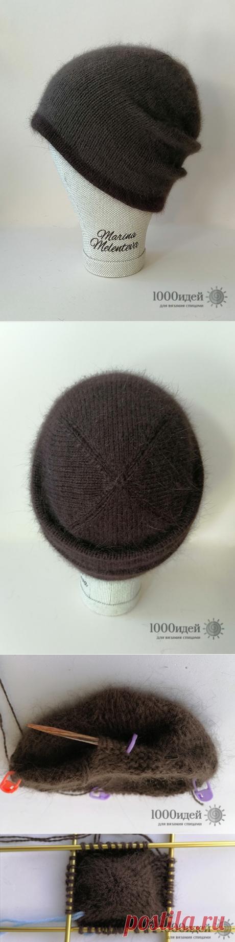 Двойная шапка бини из пуха норки спицами описание