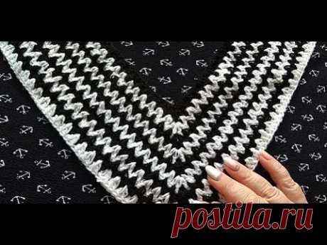 Простая отделка горловины крючком  Вставка для кофточки свитера сарафана