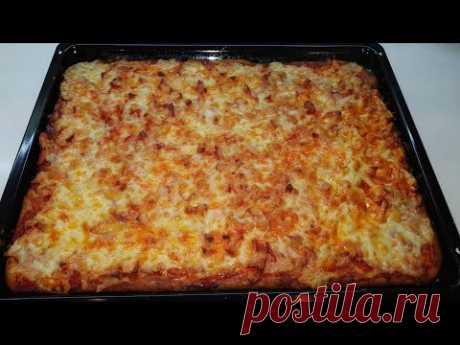Быстрая ПИЦЦА 🍕За 30 минут в духовке//Заливная пицца на кефире.