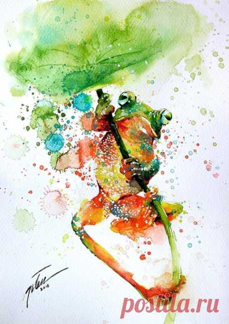 Художник Tilen Ti - яркие рисунки акварелью для вдохновения