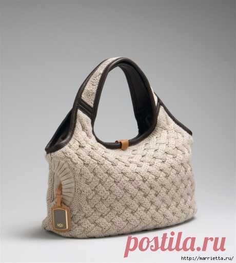 Стильная вязаная спицами сумка-плетенка. Описание