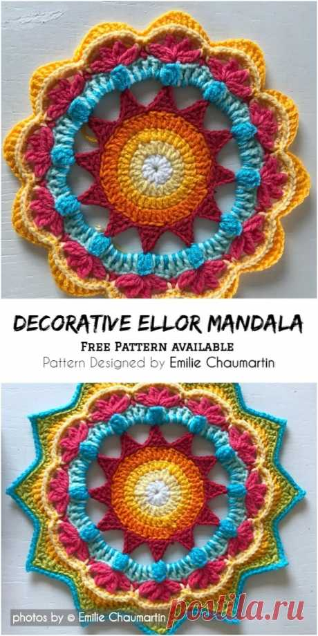 Crochet Decorative Ellor Mandala #crochet #crochetdecorative #freecrochetpattern #crafts #homedecor #crochetlove #crochetyarn #crochetmandalapattern #freemandalapattern