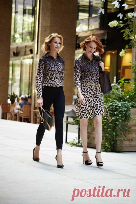 Рубашка с леопардовым принтом, серьги «Пантера», пояс, платье-рубашка с леопардовым принтом, сумка – все Faberlic.