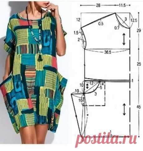 Выкройка платья с акцентом на карманы Модная одежда и дизайн интерьера своими руками