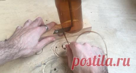 Простой бутылкорез и применение ПЭТ-ленты (видео)