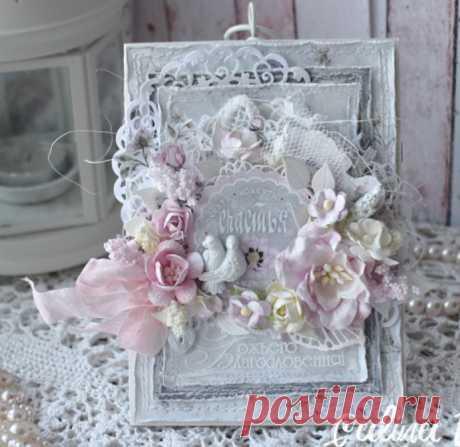 Свадебная открытка в стиле шебби шик