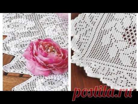 Филейное вязание - бордюры, салфетки,кайма -  Loin knitting - borders, napkins, fringe.