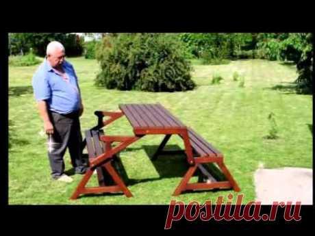 """Как изготовить стол-скамью, складывающийся за пару минут - Журнал """"Сам себе изобретатель"""""""