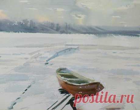 Пейзаж акварелью всего за 15 минут - видео, зимний пейзаж поэтапно + видео » Prostoykarandash.ru - Уроки рисования карандашом, уроки живописи маслом и акварелью