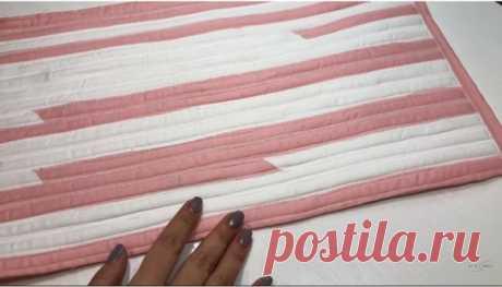 Из небольших полосок ткани можно сшить симпатичный и удобный коврик | diy-idea | Яндекс Дзен