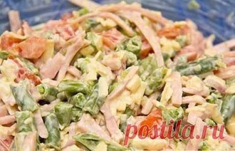 Простой салат с ветчиной и стручковой фасолью — Готовим дома