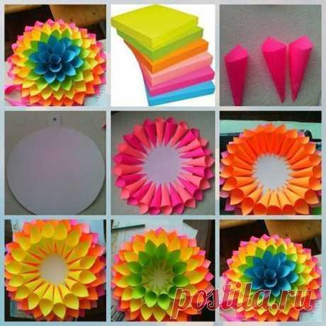 Мастер-класс по созданию цветка из бумажных блоков — Поделки с детьми