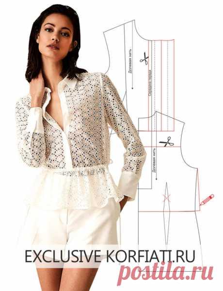 Выкройка блузки с длинными рукавами от Анастасии Корфиати