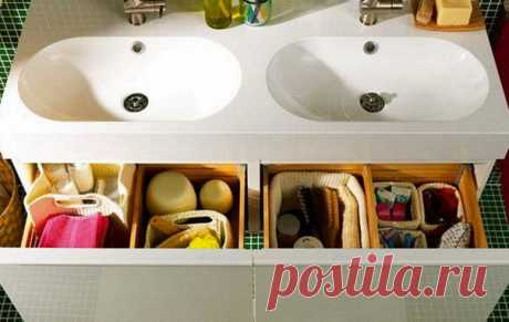 Storage in a bathroom: 10 productive ideas, more than 40 examples